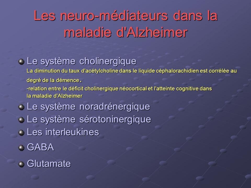 Les neuro-médiateurs dans la maladie d'Alzheimer Le système cholinergique La diminution du taux d'acétylcholine dans le liquide céphalorachidien est c