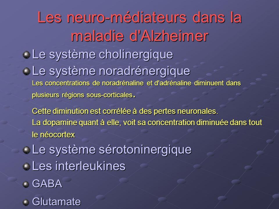 Les neuro-médiateurs dans la maladie d'Alzheimer Le système cholinergique Le système noradrénergique Les concentrations de noradrénaline et d'adrénali