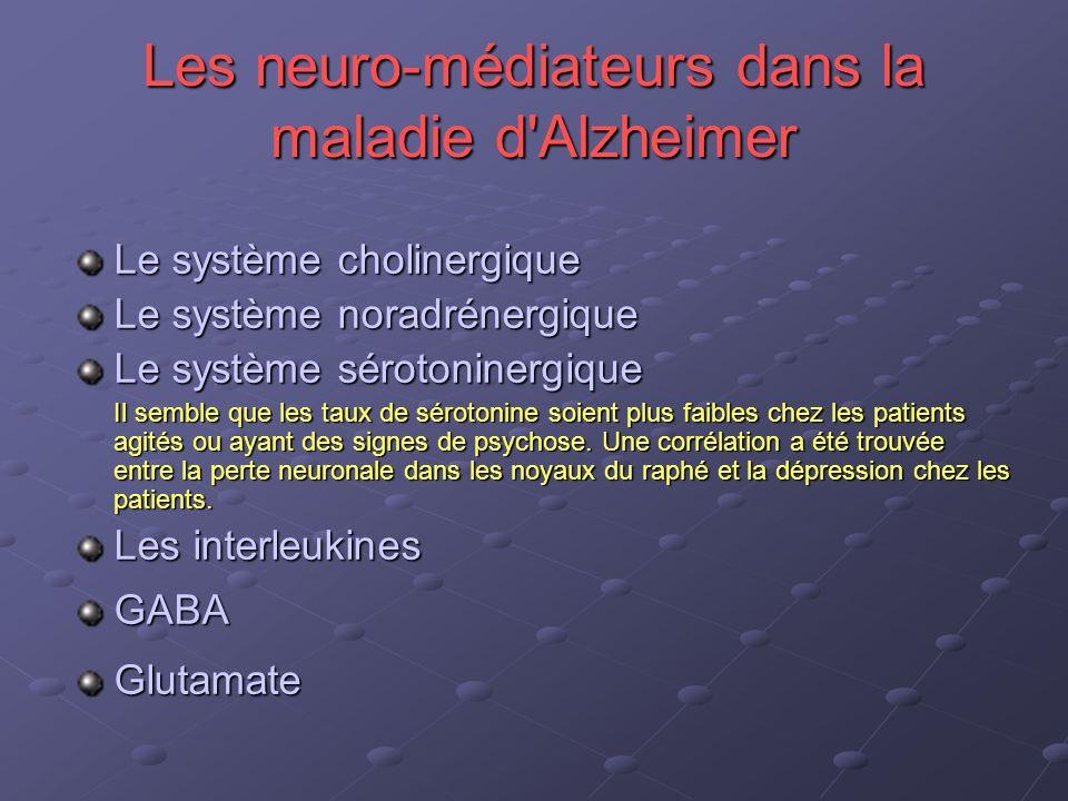 Les neuro-médiateurs dans la maladie d'Alzheimer Le système cholinergique Le système noradrénergique Le système sérotoninergique Il semble que les tau