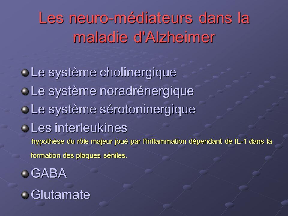 Les neuro-médiateurs dans la maladie d'Alzheimer Le système cholinergique Le système noradrénergique Le système sérotoninergique Les interleukines hyp