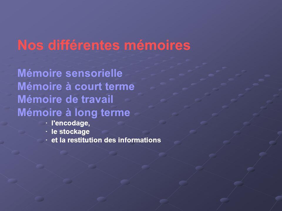 Nos différentes mémoires Mémoire sensorielle Mémoire à court terme Mémoire de travail Mémoire à long terme · l'encodage, · le stockage · et la restitu