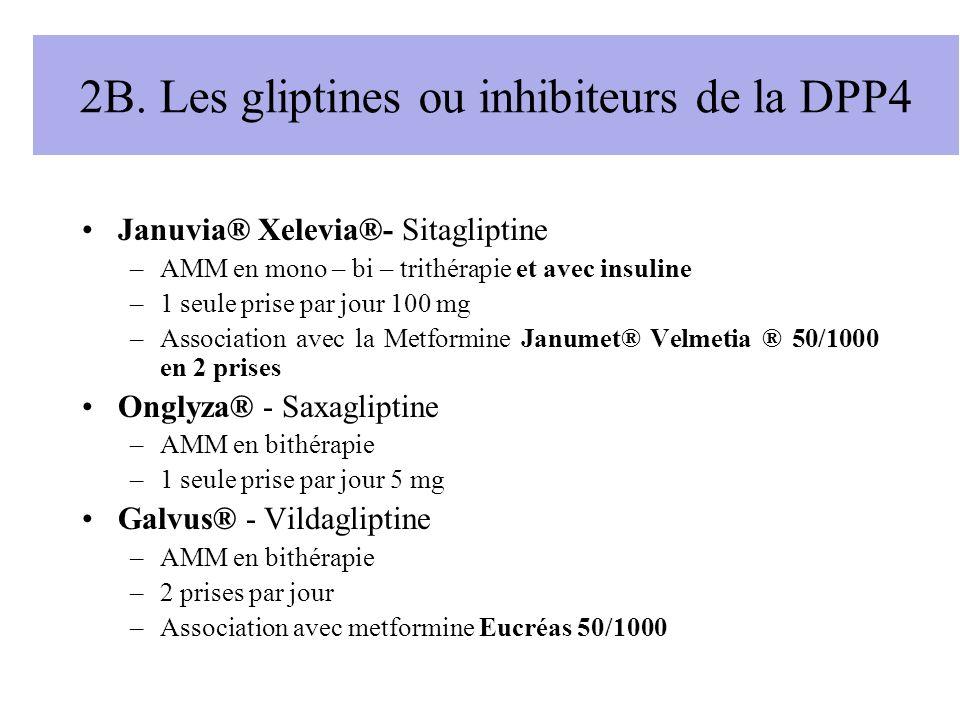 2B. Les gliptines ou inhibiteurs de la DPP4 Januvia® Xelevia®- Sitagliptine –AMM en mono – bi – trithérapie et avec insuline –1 seule prise par jour 1