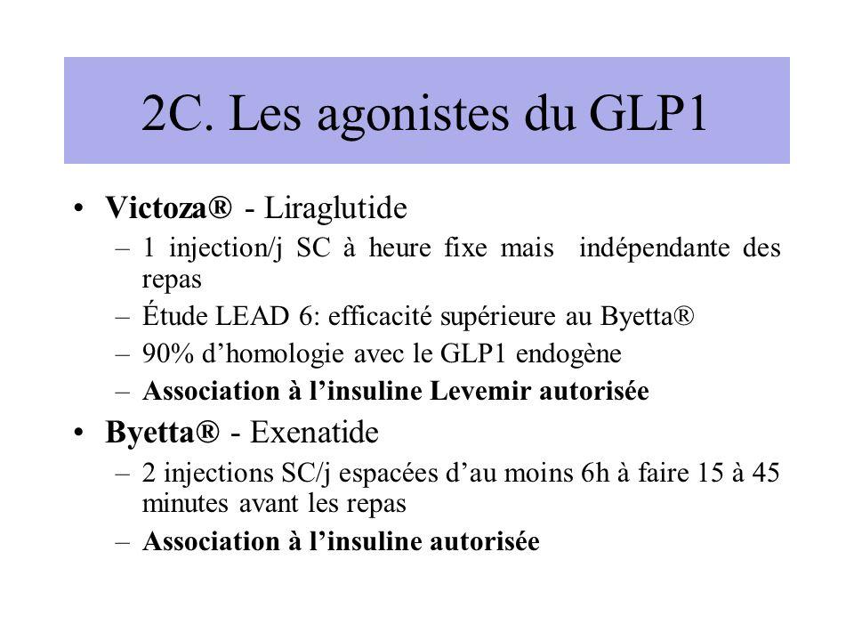 2C. Les agonistes du GLP1 Victoza® - Liraglutide –1 injection/j SC à heure fixe mais indépendante des repas –Étude LEAD 6: efficacité supérieure au By