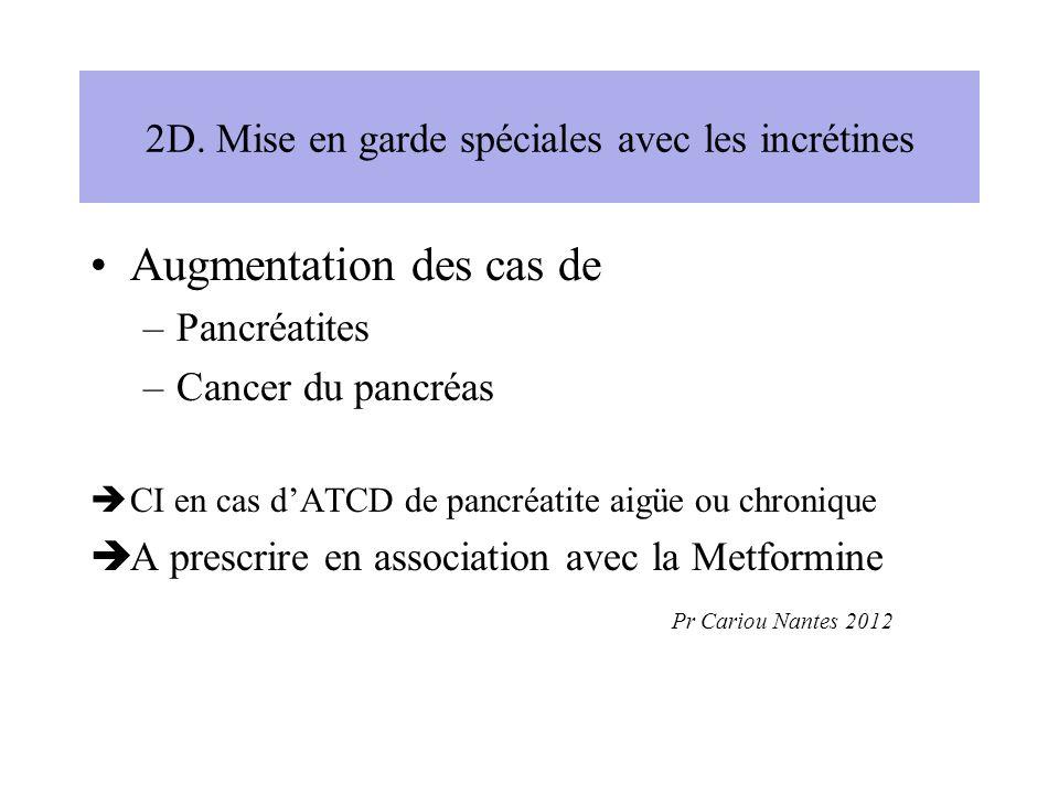 2D. Mise en garde spéciales avec les incrétines Augmentation des cas de –Pancréatites –Cancer du pancréas CI en cas dATCD de pancréatite aigüe ou chro