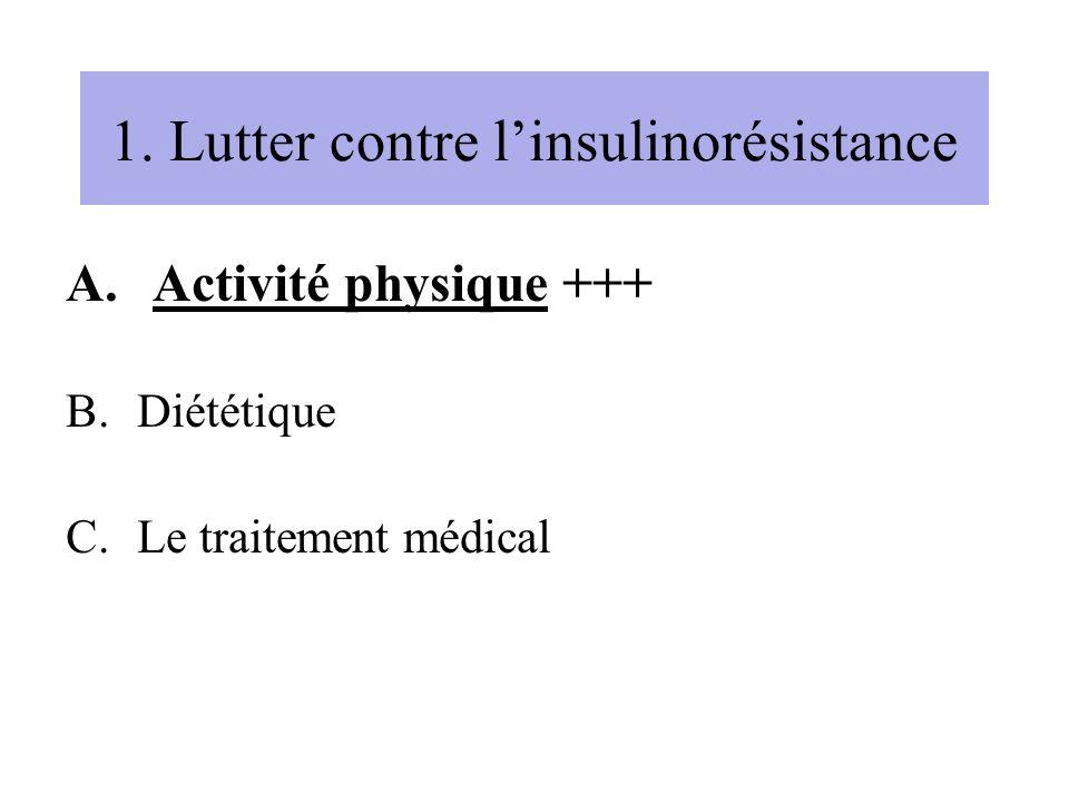 1. Lutter contre linsulinorésistance A.Activité physique +++ B.Diététique C.Le traitement médical