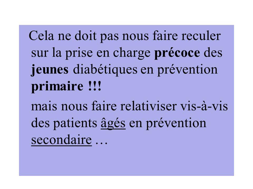 Cela ne doit pas nous faire reculer sur la prise en charge précoce des jeunes diabétiques en prévention primaire !!! mais nous faire relativiser vis-à