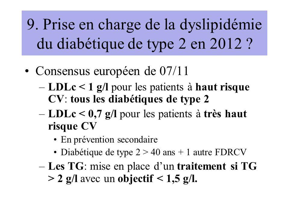 9. Prise en charge de la dyslipidémie du diabétique de type 2 en 2012 ? Consensus européen de 07/11 –LDLc < 1 g/l pour les patients à haut risque CV: