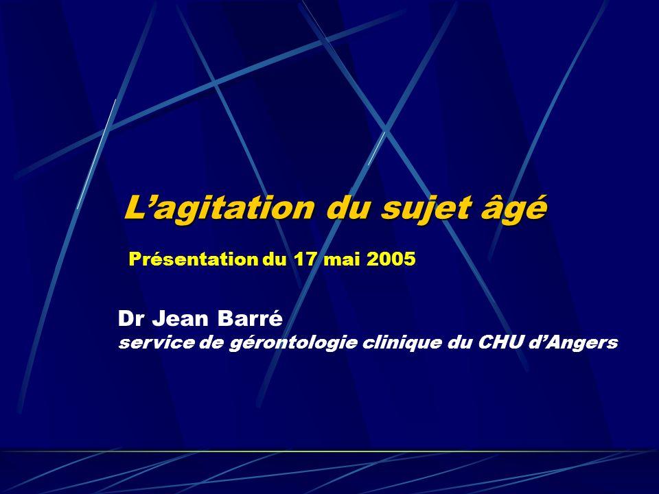 Lagitation du sujet âgé Dr Jean Barré service de gérontologie clinique du CHU dAngers Présentation du 17 mai 2005