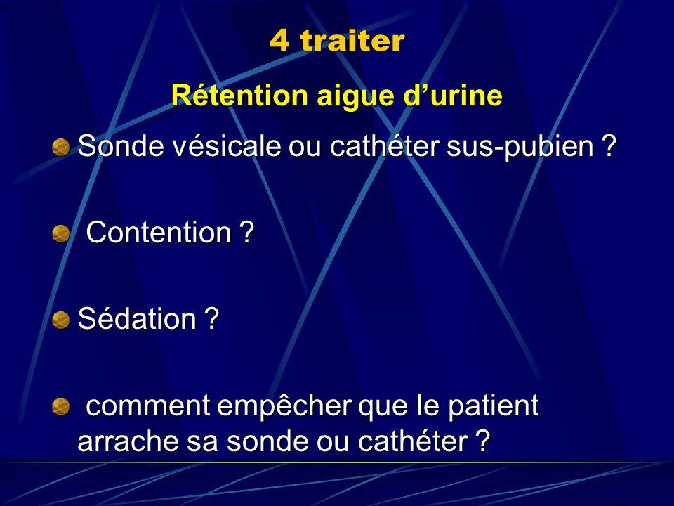 Rétention aigue durine Sonde vésicale ou cathéter sus-pubien ? Contention ? Contention ? Sédation ? comment empêcher que le patient arrache sa sonde o