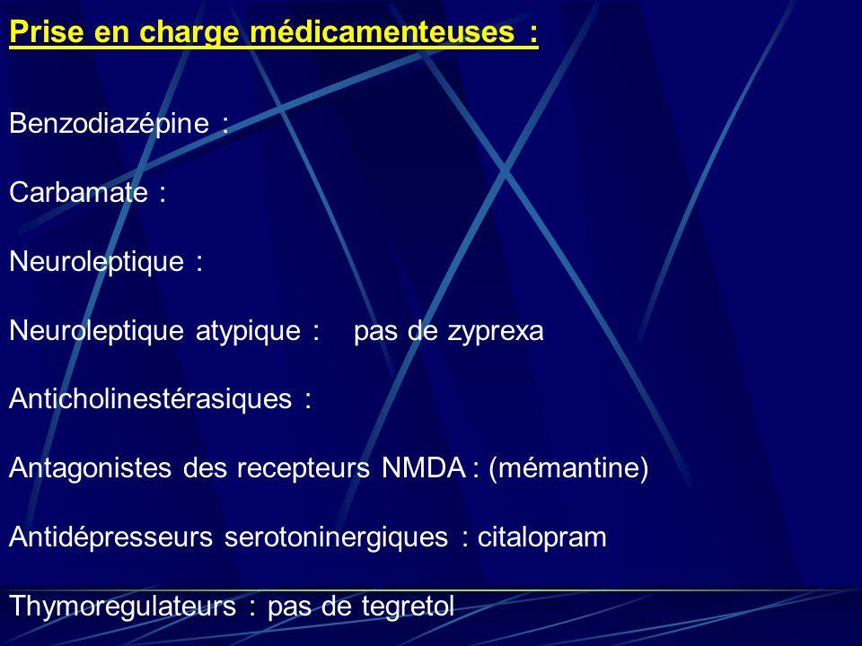 Prise en charge médicamenteuses : Benzodiazépine : Carbamate : Neuroleptique : Neuroleptique atypique :pas de zyprexa Anticholinestérasiques : Antagon