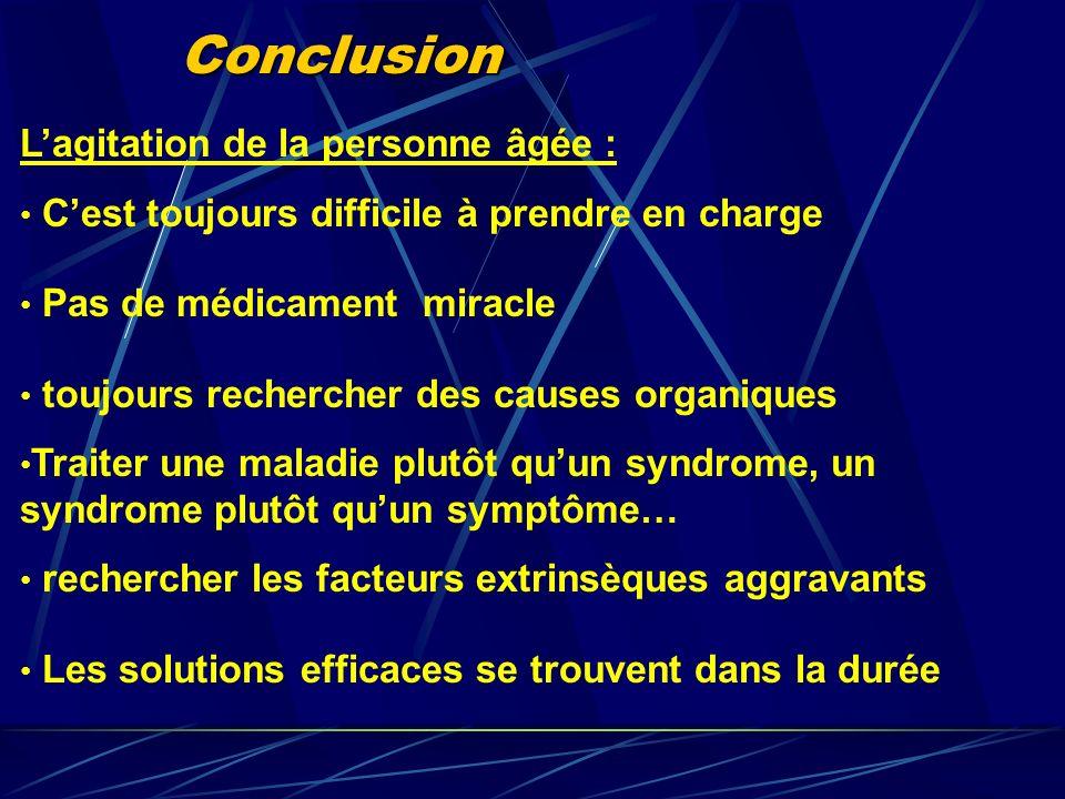 Conclusion Lagitation de la personne âgée : Cest toujours difficile à prendre en charge Pas de médicament miracle toujours rechercher des causes organ
