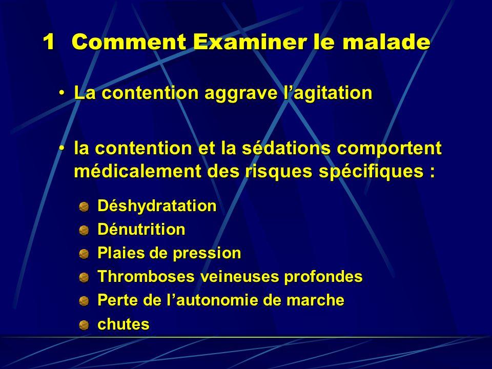 1 Comment Examiner le malade La contention aggrave lagitationLa contention aggrave lagitation la contention et la sédations comportent médicalement de