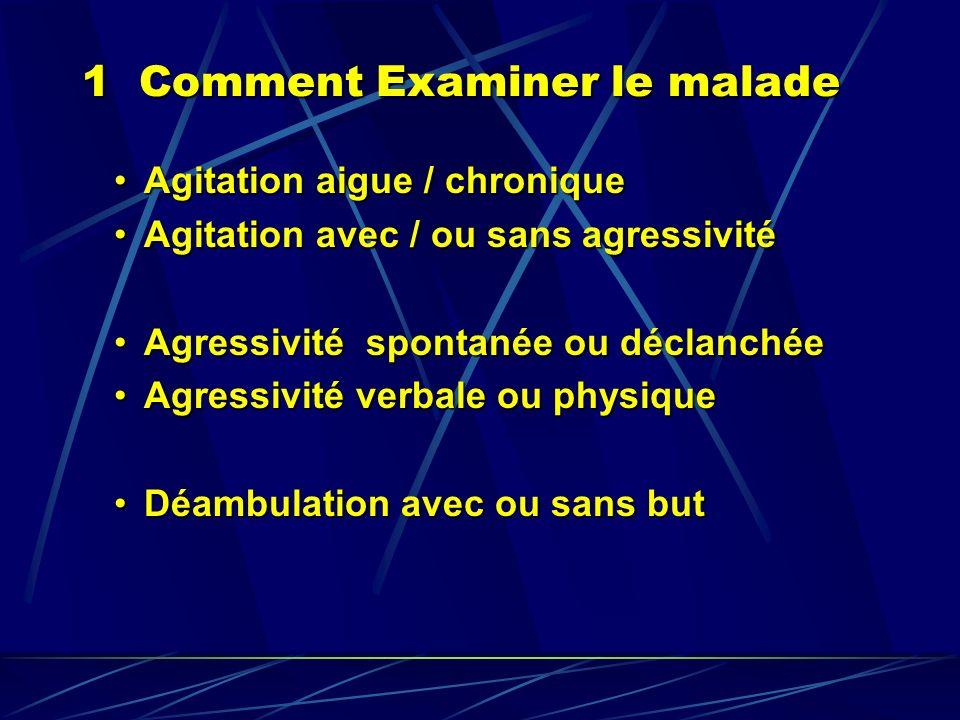 1 Comment Examiner le malade Agitation aigue / chroniqueAgitation aigue / chronique Agitation avec / ou sans agressivitéAgitation avec / ou sans agres