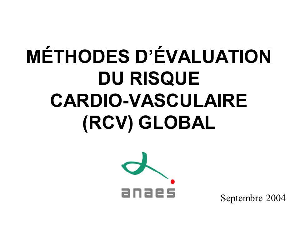 MÉTHODES DÉVALUATION DU RISQUE CARDIO-VASCULAIRE (RCV) GLOBAL Septembre 2004
