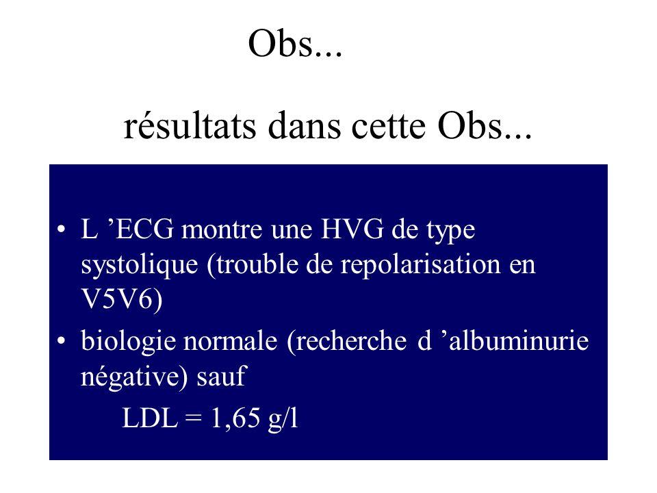 résultats dans cette Obs... L ECG montre une HVG de type systolique (trouble de repolarisation en V5V6) biologie normale (recherche d albuminurie néga
