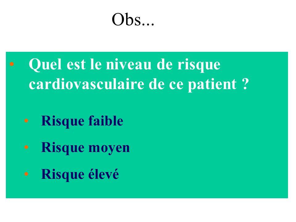 Quel est le niveau de risque cardiovasculaire de ce patient ? Risque faible Risque moyen Risque élevé Obs...