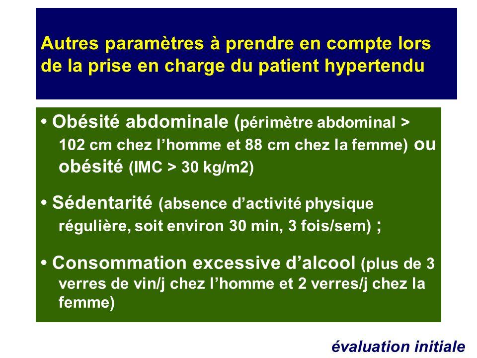 Autres paramètres à prendre en compte lors de la prise en charge du patient hypertendu Obésité abdominale ( périmètre abdominal > 102 cm chez lhomme e