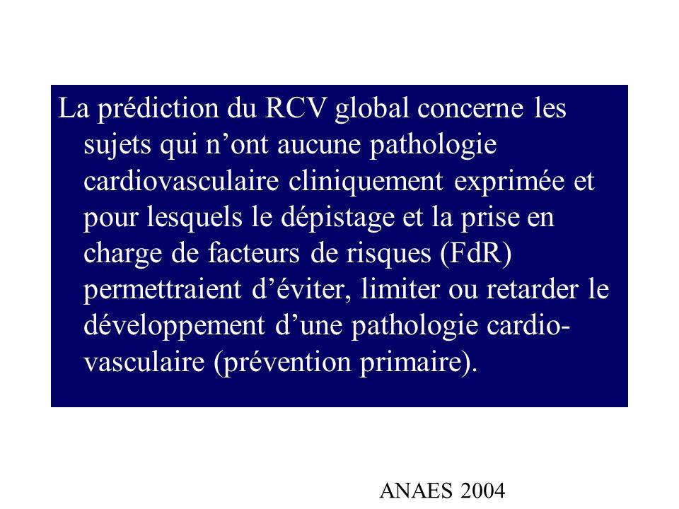 La prédiction du RCV global concerne les sujets qui nont aucune pathologie cardiovasculaire cliniquement exprimée et pour lesquels le dépistage et la