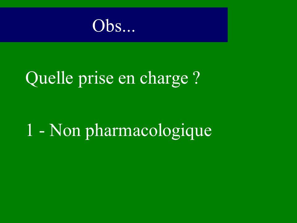 Quelle prise en charge ? 1 - Non pharmacologique Obs...