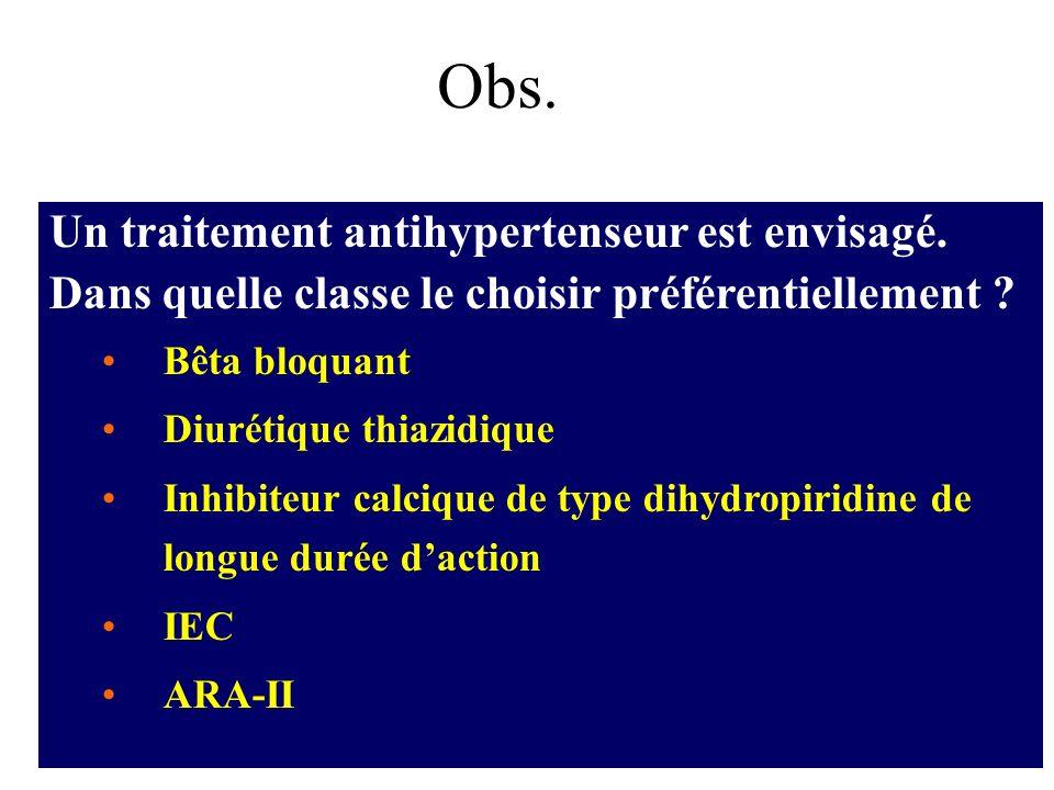 Obs. Un traitement antihypertenseur est envisagé. Dans quelle classe le choisir préférentiellement ? Bêta bloquant Diurétique thiazidique Inhibiteur c