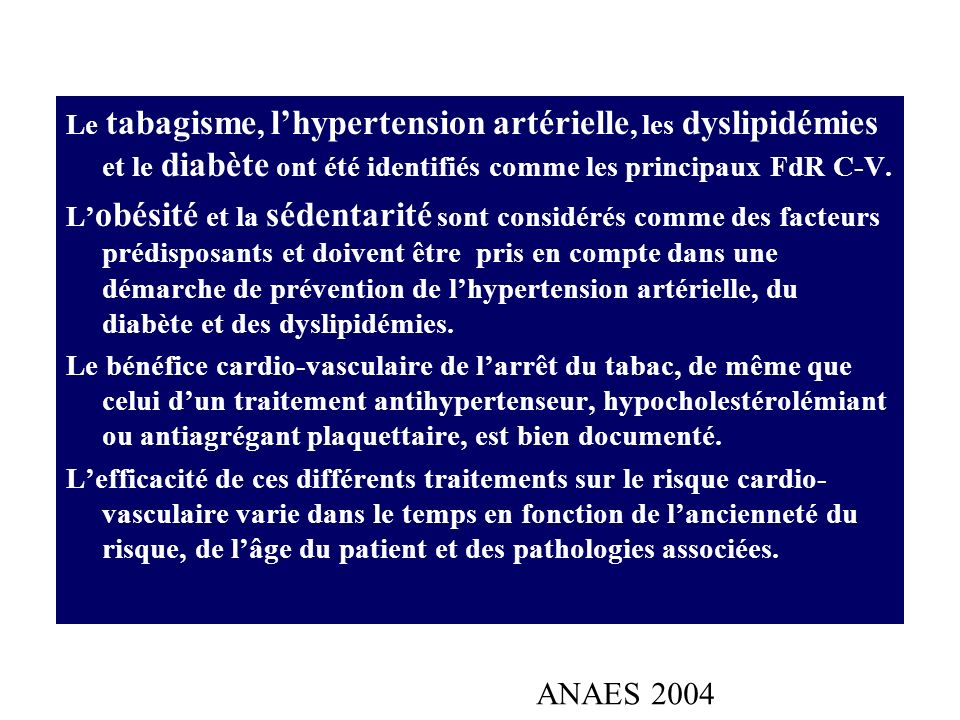 non modifiables modifiables Âgesexe hérédité ménopause Dyslipémie : LDL élevé, HDL bas, TG élevé HTA,DIABÈTE INTOLÉRANCE AU GLUCOSE SYNDROME MÉTABOLIQUE MAL.