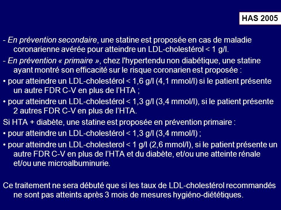 - En prévention secondaire, une statine est proposée en cas de maladie coronarienne avérée pour atteindre un LDL-cholestérol < 1 g/l. - En prévention