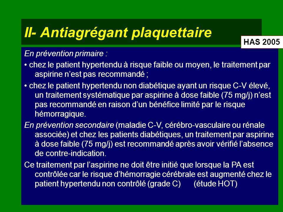 II- Antiagrégant plaquettaire En prévention primaire : chez le patient hypertendu à risque faible ou moyen, le traitement par aspirine nest pas recomm