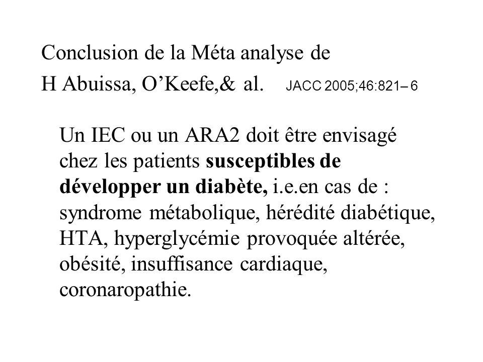 Conclusion de la Méta analyse de H Abuissa, OKeefe,& al. JACC 2005;46:821– 6 Un IEC ou un ARA2 doit être envisagé chez les patients susceptibles de dé