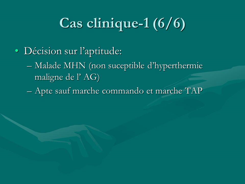 Cas clinique-1 (6/6) Décision sur laptitude:Décision sur laptitude: –Malade MHN (non suceptible dhyperthermie maligne de l AG) –Apte sauf marche comma