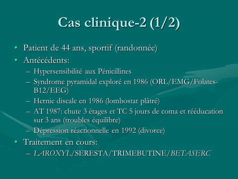 Cas clinique-2 (1/2) Patient de 44 ans, sportif (randonnée)Patient de 44 ans, sportif (randonnée) Antécédents:Antécédents: –Hypersensibilité aux Pénic