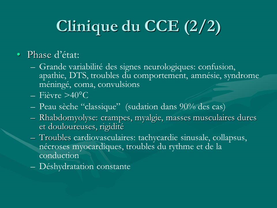 Clinique du CCE (2/2) PhasePhase détat: – –Grande variabilité des signes neurologiques: confusion, apathie, DTS, troubles du comportement, amnésie, sy