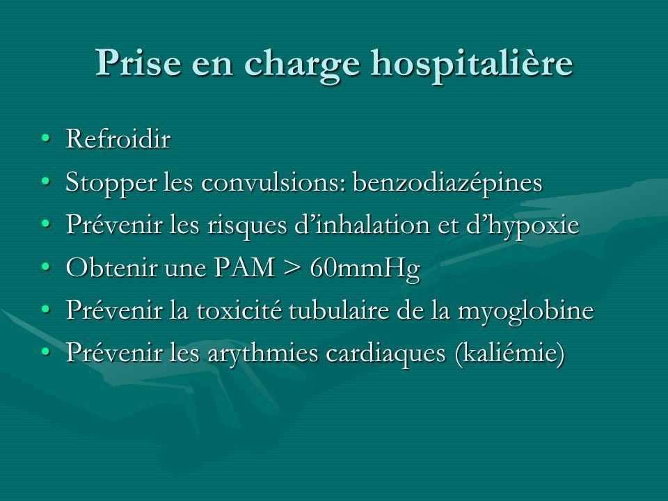 Prise en charge hospitalière RefroidirRefroidir Stopper les convulsions: benzodiazépinesStopper les convulsions: benzodiazépines Prévenir les risques