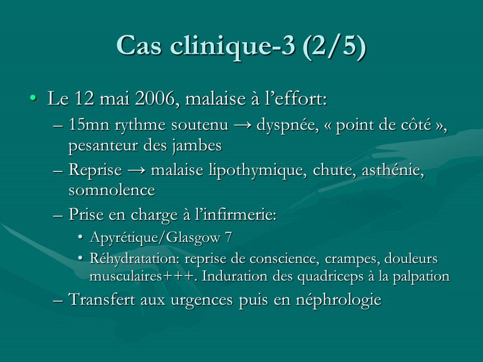 Cas clinique-3 (2/5) Le 12 mai 2006, malaise à leffort:Le 12 mai 2006, malaise à leffort: –15mn rythme soutenu dyspnée, « point de côté », pesanteur d