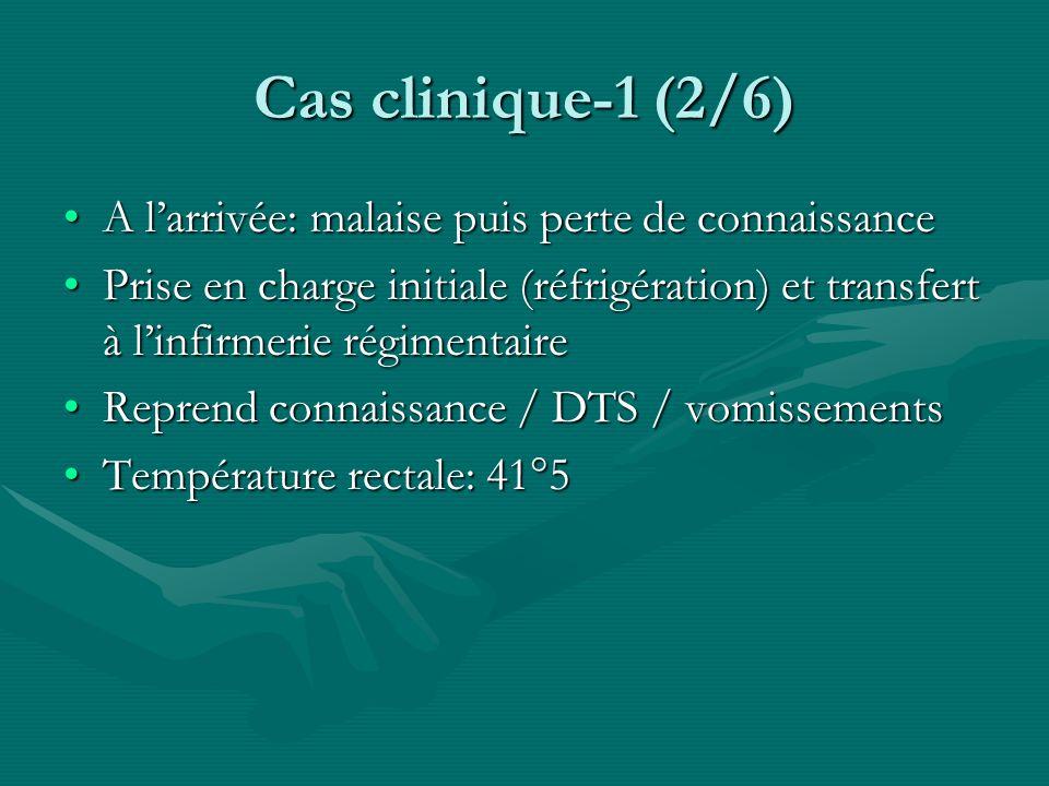 Cas clinique-1 (2/6) A larrivée: malaise puis perte de connaissanceA larrivée: malaise puis perte de connaissance Prise en charge initiale (réfrigérat