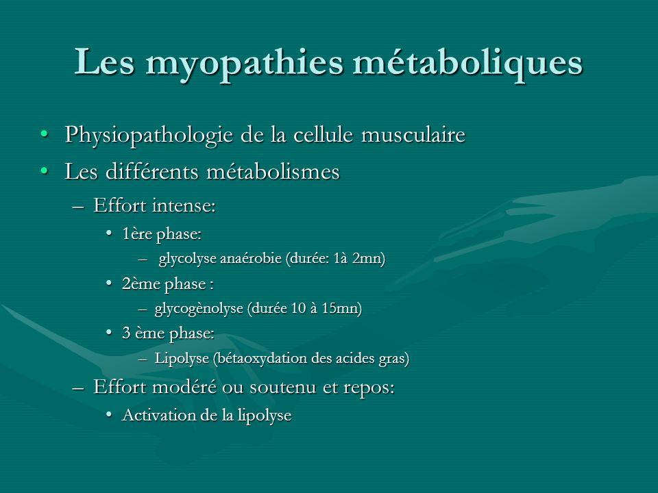 Les myopathies métaboliques Physiopathologie de la cellule musculairePhysiopathologie de la cellule musculaire Les différents métabolismesLes différen