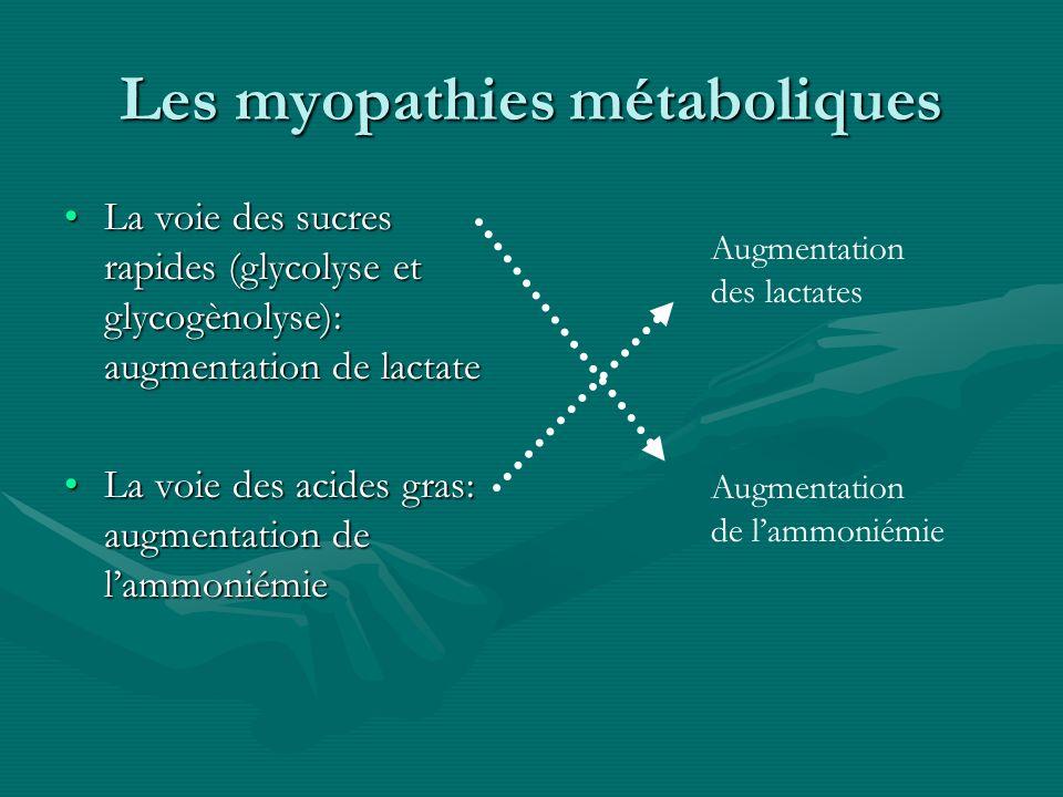 Les myopathies métaboliques La voie des sucres rapides (glycolyse et glycogènolyse): augmentation de lactateLa voie des sucres rapides (glycolyse et g