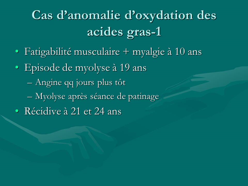 Cas danomalie doxydation des acides gras-1 Fatigabilité musculaire + myalgie à 10 ansFatigabilité musculaire + myalgie à 10 ans Episode de myolyse à 1