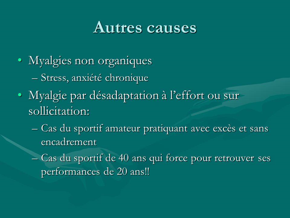 Autres causes Myalgies non organiquesMyalgies non organiques –Stress, anxiété chronique Myalgie par désadaptation à leffort ou sur sollicitation:Myalg