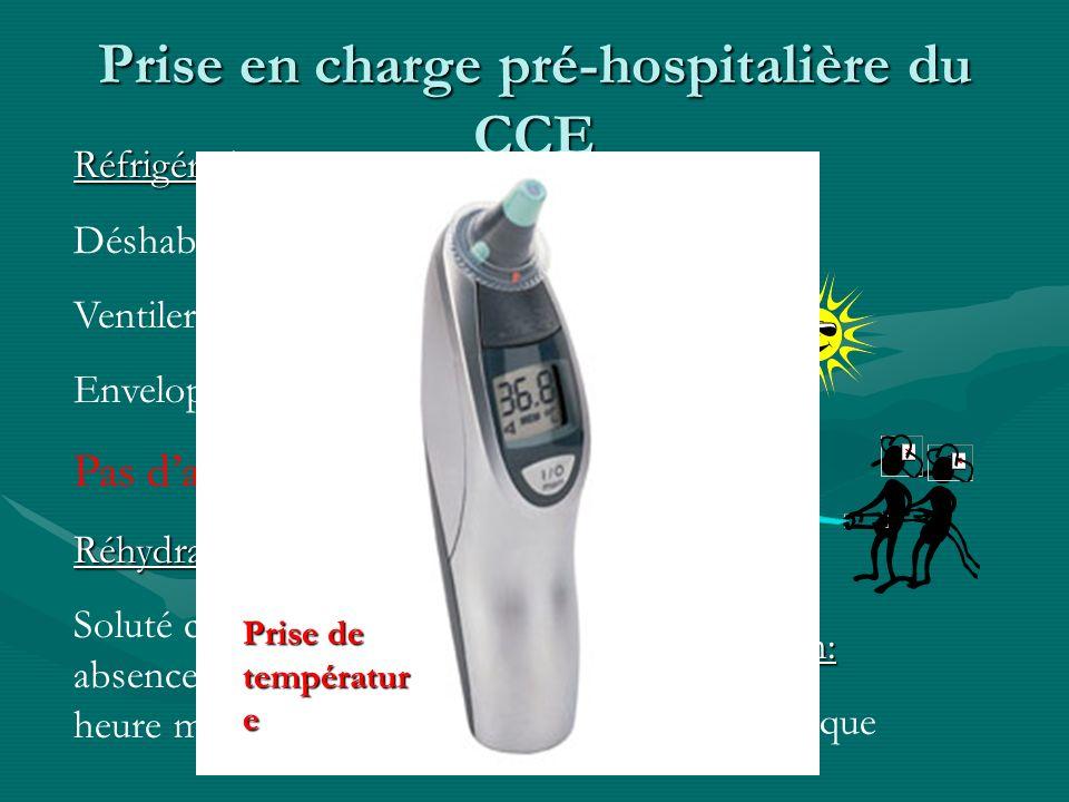 Prise en charge pré-hospitalière du CCE Réfrigération: Déshabiller à lombre Ventiler/Asperger deau Envelopper de linge humide Pas dantipyrétiqueRéhydr