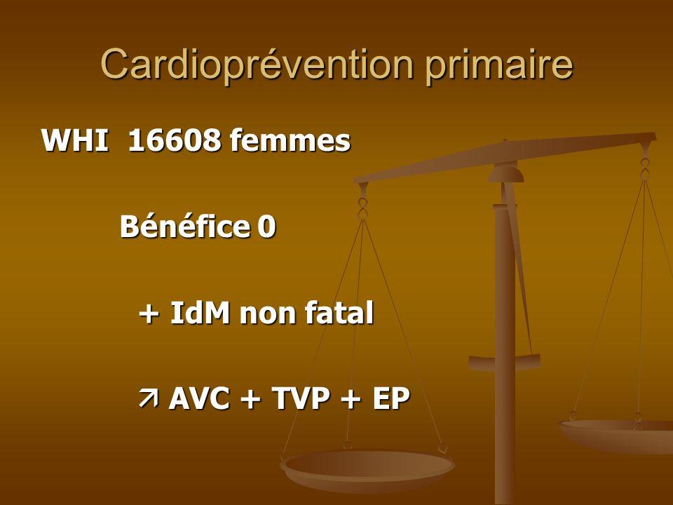 Cardioprévention primaire WHI 16608 femmes Bénéfice 0 Bénéfice 0 + IdM non fatal + IdM non fatal AVC + TVP + EP AVC + TVP + EP