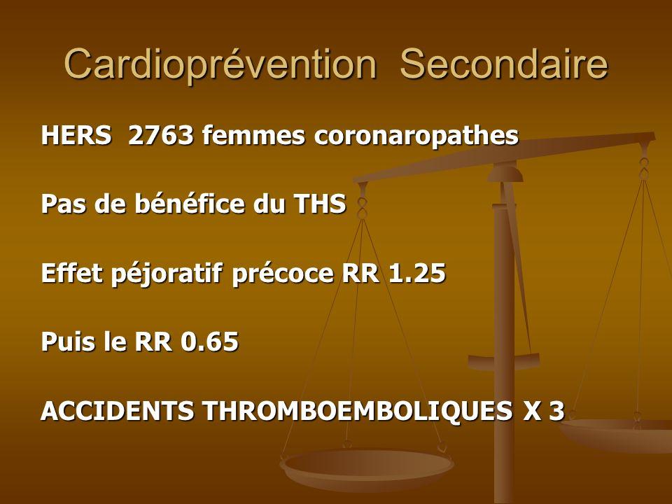 Cardioprévention Secondaire HERS 2763 femmes coronaropathes Pas de bénéfice du THS Effet péjoratif précoce RR 1.25 Puis le RR 0.65 ACCIDENTS THROMBOEM