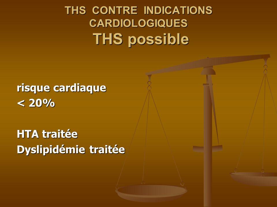 THS CONTRE INDICATIONS CARDIOLOGIQUES THS possible risque cardiaque < 20% HTA traitée HTA traitée Dyslipidémie traitée