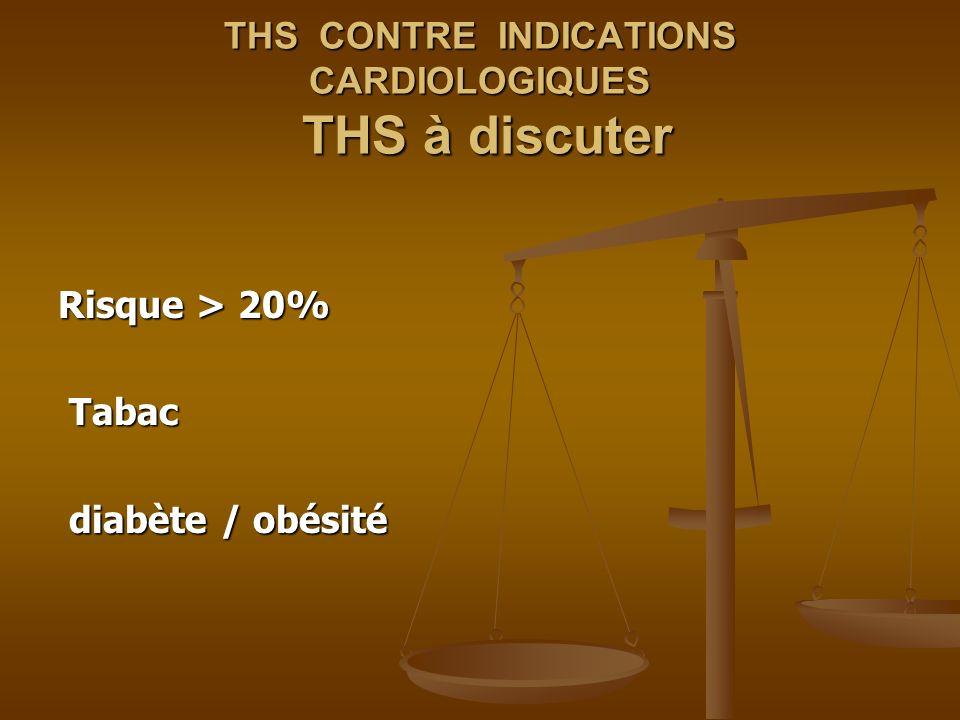 THS CONTRE INDICATIONS CARDIOLOGIQUES THS à discuter Risque > 20% Tabac Tabac diabète / obésité diabète / obésité