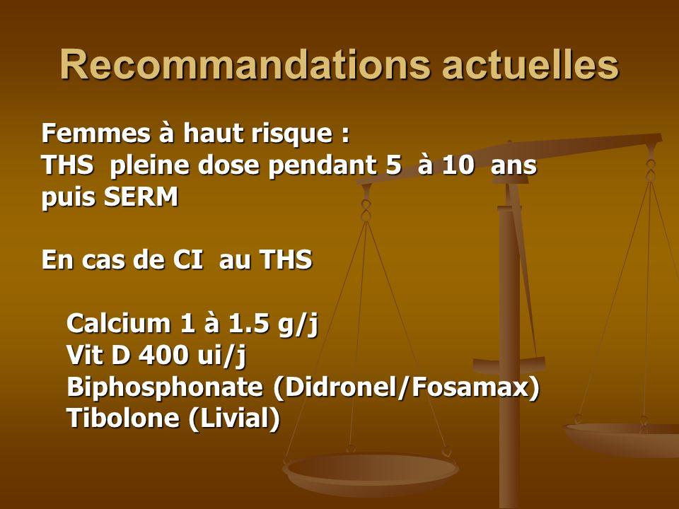 Recommandations actuelles Femmes à haut risque : THS pleine dose pendant 5 à 10 ans puis SERM En cas de CI au THS Calcium 1 à 1.5 g/j Vit D 400 ui/j B