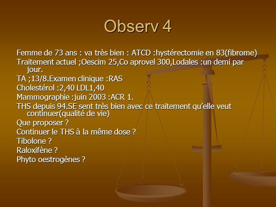 Observ 4 Femme de 73 ans : va très bien : ATCD :hystérectomie en 83(fibrome) Traitement actuel ;Oescim 25,Co aprovel 300,Lodales :un demi par jour. TA