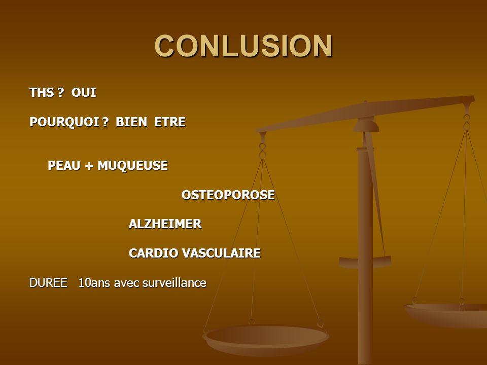 CONLUSION THS ? OUI POURQUOI ? BIEN ETRE PEAU + MUQUEUSE OSTEOPOROSE OSTEOPOROSE ALZHEIMER ALZHEIMER CARDIO VASCULAIRE CARDIO VASCULAIRE DUREE 10ans a