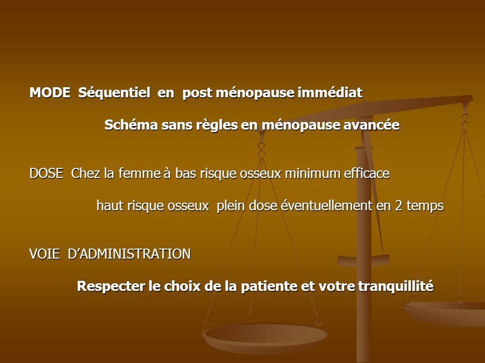MODE Séquentiel en post ménopause immédiat Schéma sans règles en ménopause avancée Schéma sans règles en ménopause avancée DOSE Chez la femme à bas ri