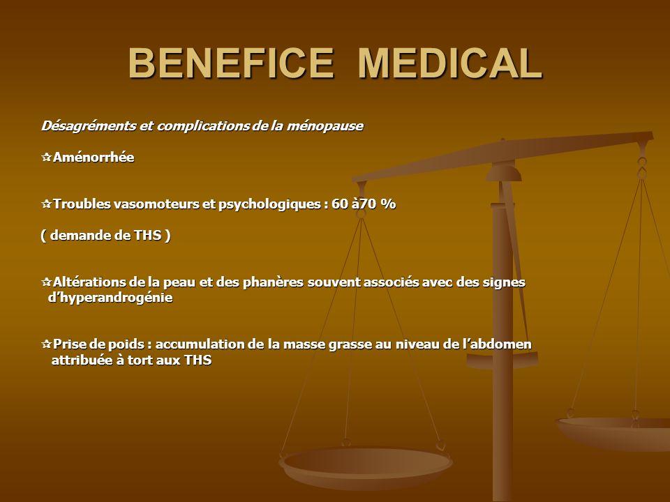 BENEFICE MEDICAL Désagréments et complications de la ménopause Aménorrhée Aménorrhée Troubles vasomoteurs et psychologiques : 60 à70 % Troubles vasomo