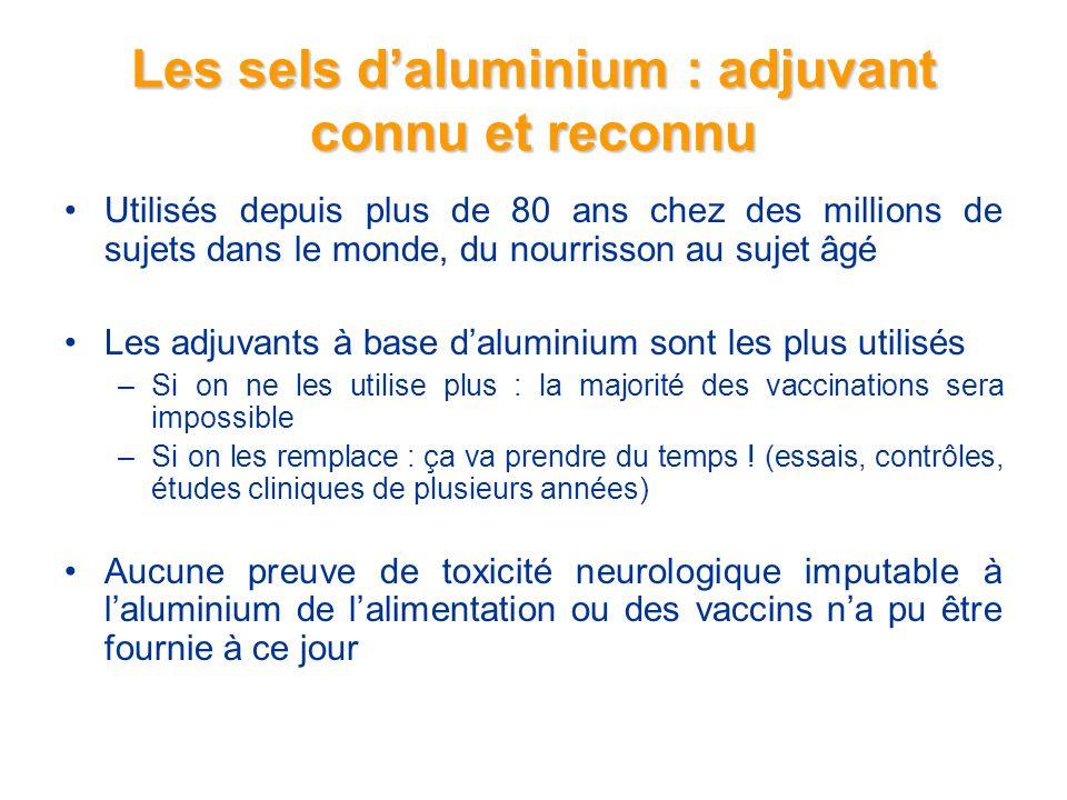 Les sels daluminium : adjuvant connu et reconnu Utilisés depuis plus de 80 ans chez des millions de sujets dans le monde, du nourrisson au sujet âgé Les adjuvants à base daluminium sont les plus utilisés –Si on ne les utilise plus : la majorité des vaccinations sera impossible –Si on les remplace : ça va prendre du temps .