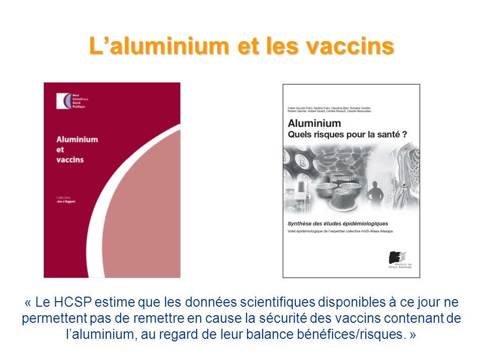 Laluminium et les vaccins Origine exogène : –Eau, alimentation (10 à 15 mg/j) –Exposition accidentelle, professionnelle –Exposition iatrogène Protecteurs gastriques, onguents –Adjuvants vaccinaux Recommandations officielles (OMS, FDA) –Quantité maximale autorisée dans les vaccins : 0,85 mg Al / dose (FDA) –Chaque dose de vaccin : ~0,3 mg –Taux minimal de risque pour laluminium alimentaire 1 mg/kg/j